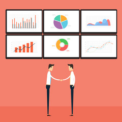 success  business people on business graph monitor