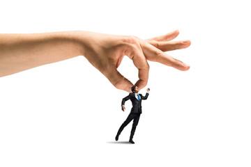 Hand catching man