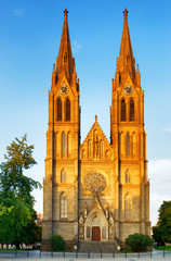 The Church of St. Ludmila at the Peace Square in Prague, Czech R