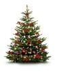 Leinwanddruck Bild - Christbaum mit Roten Kugeln, Schleifen, und Strohsternen