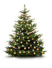 Christbaum mit Goldenen Kugeln und Strohsternen