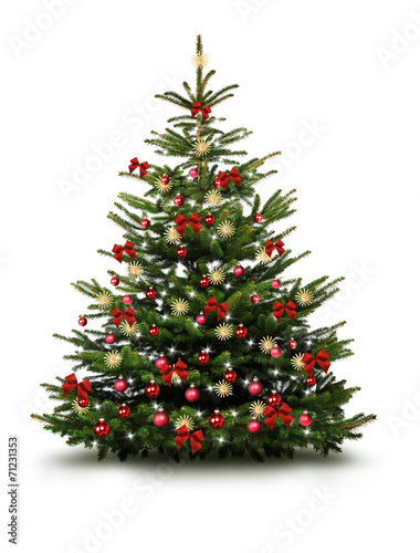 Christbaum mit Roten Kugeln, Schleifen, und Strohsternen - 71231353