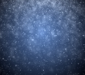 Winter background, falling snowflakes