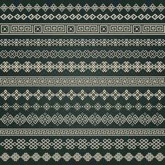 Border decoration elements in mega set on dark background
