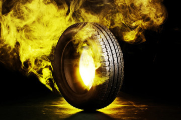 black smoked burning tire
