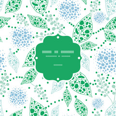 Vector abstract blue and green leaves frame seamless pattern