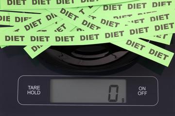 Words Diet on kitchen scale