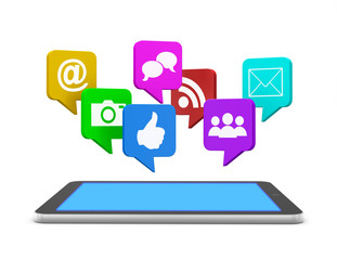 social media and tablet
