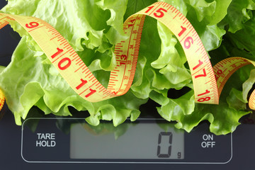 Green lettuce and tape measure on kitchen scale