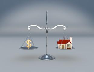 Balanza con casa y símbolo de dinero