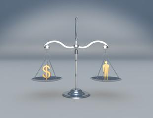 Balanza con figura humana y símbolo de dinero
