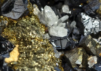 Crystals of pyrite on galena