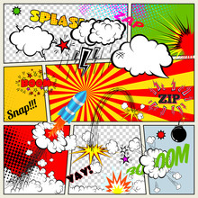 Set of Retro Comic Book Vector Design elements,  Thought Bubbles