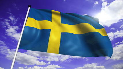 flag of Sweden with fabric structure against a cloudy sky