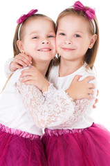 Portrait of twin girls