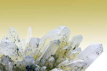 Quartz on the yellow background