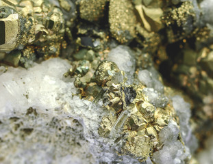 Quartz on the surface of pyrite