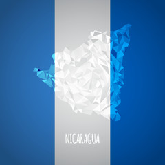 Low Poly Nicaragua Map with National Colors