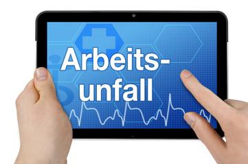 Tablet mit Interface und Arbeitsunfall