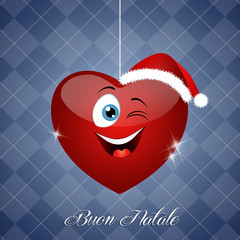 Funny winks heart with Santa's hat