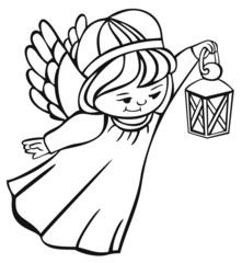 outline image of flying angel with lantern