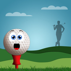 Funny golf ball on golf course