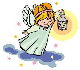 Flying angel with lantern