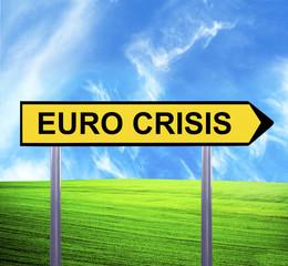 Conceptual arrow sign against beautiful landscape with text - EU