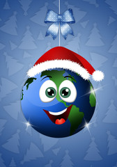 Funny earth with Santa's hat