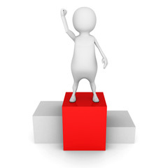 winner white 3d man on the top pedestal
