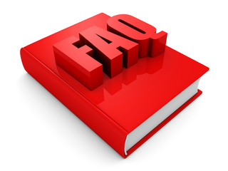 red FAQ book on white background