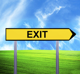 Conceptual arrow sign against beautiful landscape with text - EX