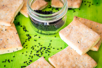 homemade crackers with seeds kalindzhi