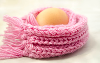 Eggs  in the warm pink scarf