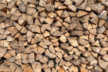 Chopped wooden logs background