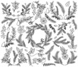 Vector Collection of Vintage Style Hand Drawn Christmas Holiday  - 71237590