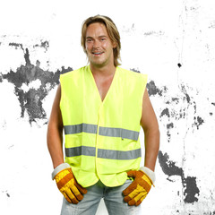 beautiful man in safety constuction working outfit