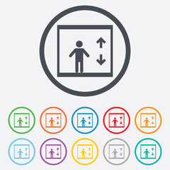 Elevator icon. Person symbol with up down arrows