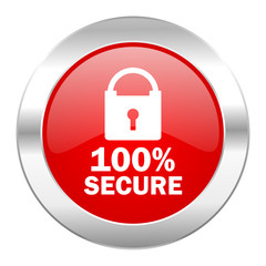 secure red circle chrome web icon isolated