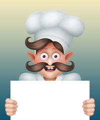 happy chief cook holding blank menu template, cartoon character