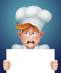 cook boy holding blank banner, cartoon character illustration