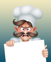 angry chief cook holding blank card, character illustration