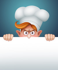 angry redhead cook behind blank banner, character illustration