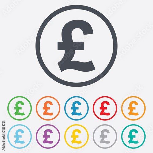 Pound sign icon. GBP currency symbol. - 71238721