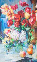 рисунок маслом, натюрморт из цветов, цветы маслом