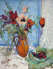 drawing oil, still life of flowers, flower oil, poppies