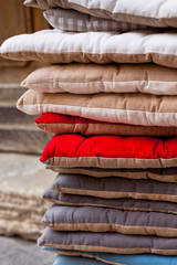 Linen chair pillows pile