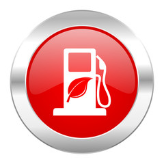 biofuel red circle chrome web icon isolated