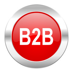 b2b red circle chrome web icon isolated
