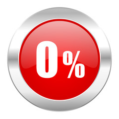0 percent red circle chrome web icon isolated